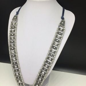Chico's Jewelry - Chico's Necklace Silver Tassel Clear Rhinestone